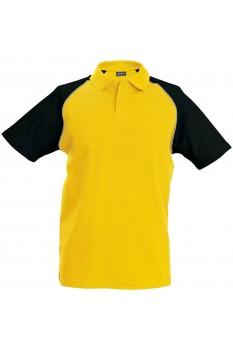 Tricou polo barbati, bumbac 100%, Kariban Baseball KA226, Yellow/Black