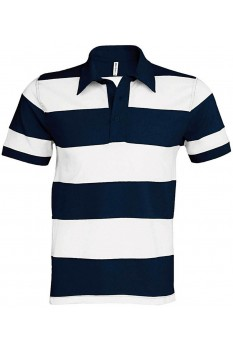 Tricou polo barbati, bumbac 100%, Kariban Ray KA237, Navy/White