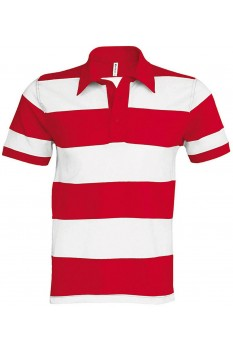 Tricou polo barbati, bumbac 100%, Kariban Ray KA237, Red/White