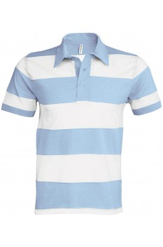 Tricou polo barbati, bumbac 100%, Kariban Ray KA237, Sky Blue/White
