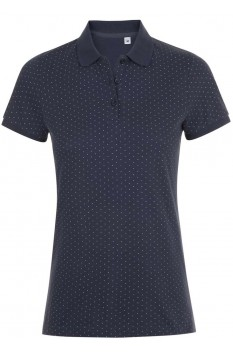 Tricou polo femei, bumbac 100%, Sol's Brandy Polka-Dot French Navy/White