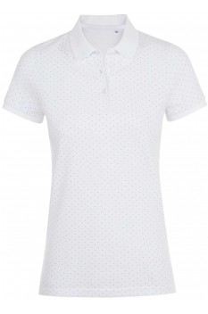 Tricou polo femei, bumbac 100%, Sol's Brandy Polka-Dot White/French Navy