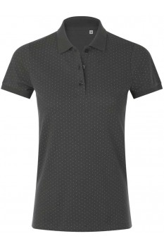 Tricou polo femei, bumbac 100%, Sol's Brandy Polka-Dot Dark Grey/White