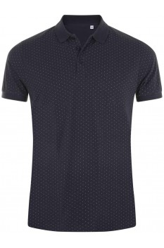 Tricou polo barbati, bumbac 100%, Sol's Brandy Polka-Dot French Navy/White