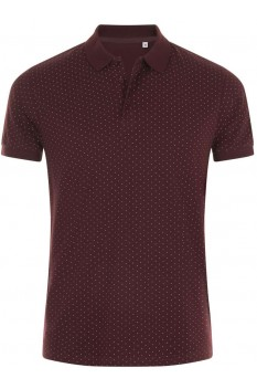Tricou polo barbati, bumbac 100%, Sol's Brandy Polka-Dot Oxblood/White