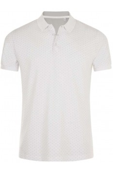 Tricou polo barbati, bumbac 100%, Sol's Brandy Polka-Dot White/French Navy