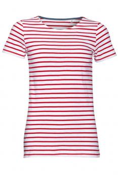 Tricou femei Sol's Miles Striped, alb/rosu