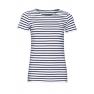 Tricou femei Sol's Miles Striped, alb/navy