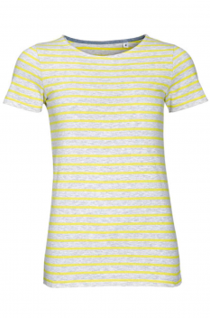 Tricou femei Sol's Miles Striped, ash/lemon