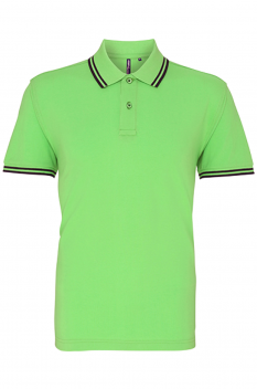 Tricou polo barbati, bumbac 100%, Asquith & Fox AQ011, lime/navy