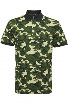 Tricou polo barbati, bumbac 100%, Asquith & Fox AQ018, camo green