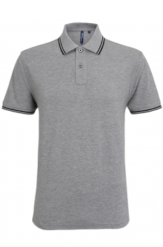 Tricou polo barbati, bumbac 100%, Asquith & Fox AQ011, heather grey/black