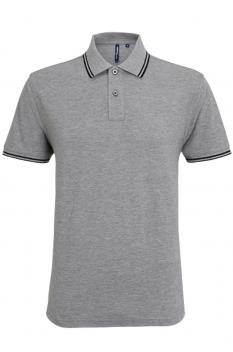 Tricou polo barbati, bumbac 100%, Asquith & Fox AQ011, heather grey/black