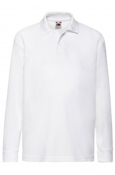Tricou polo cu maneca lunga copii, Fruit of the Loom, white