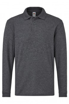 Tricou polo cu maneca lunga copii, Fruit of the Loom, dark heather grey