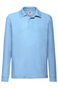 Tricou polo cu maneca lunga copii, Fruit of the Loom, sky blue