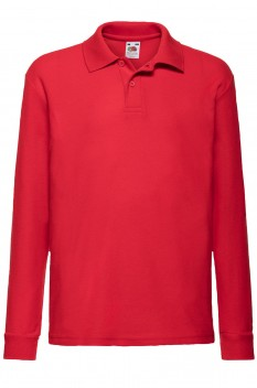Tricou polo cu maneca lunga copii, Fruit of the Loom, red