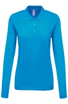 Tricou polo cu maneca lunga femei, bumbac 100%, Kariban KA257, Tropical Blue