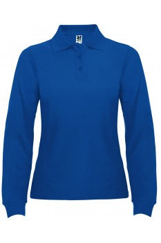 Tricou polo cu maneca lunga femei, bumbac 100%, Roly Estrella, albastru royal