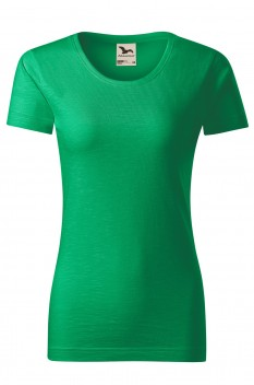 Tricou femei, bumbac organic 100%, Malfini Native, verde mediu