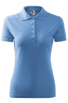 Tricou polo femei Malfini Pique, albastru deschis