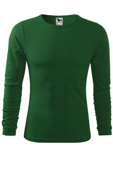 Tricou barbati, bumbac 100%, Malfini Fit-T Long Sleeve, verde sticla