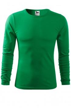 Tricou barbati, bumbac 100%, Malfini Fit-T Long Sleeve, verde mediu