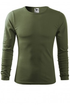 Tricou barbati, bumbac 100%, Malfini Fit-T Long Sleeve, khaki