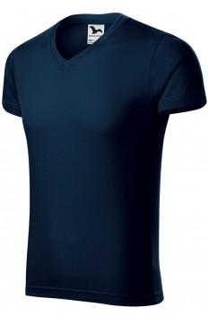 Tricou barbati, bumbac 100%, Malfini Slim Fit V-Neck, albastru marin