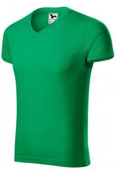 Tricou barbati, bumbac 100%, Malfini Slim Fit V-Neck, verde mediu