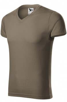 Tricou barbati, bumbac 100%, Malfini Slim Fit V-Neck, army