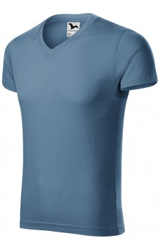 Tricou barbati, bumbac 100%, Malfini Slim Fit V-Neck, denim