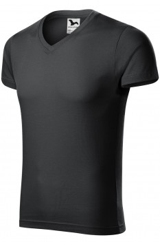 Tricou barbati, bumbac 100%, Malfini Slim Fit V-Neck, ebony gray