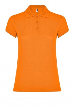 Tricou polo femei, bumbac 100%, Roly Star, portocaliu