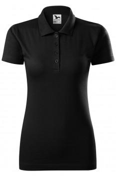 Tricou polo femei, bumbac 100%, Malfini Single Jersey, negru