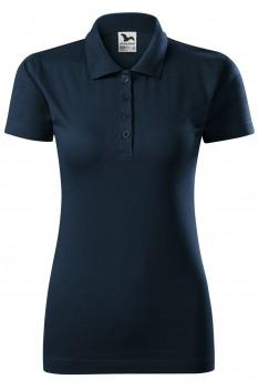 Tricou polo femei, bumbac 100%, Malfini Single Jersey, albastru marin