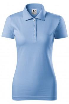 Tricou polo femei, bumbac 100%, Malfini Single Jersey, albastru deschis