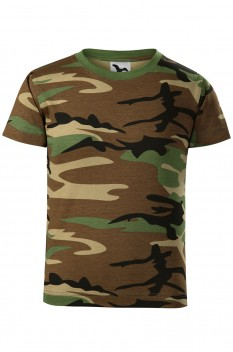 Tricou copii, bumbac 100%, Malfini Camouflage, camuflaj maro