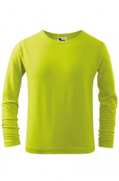 Tricou copii, bumbac 100%, Malfini Fit-T Long Sleeve, lime