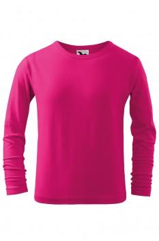 Tricou copii, bumbac 100%, Malfini Fit-T Long Sleeve, roz zmeura