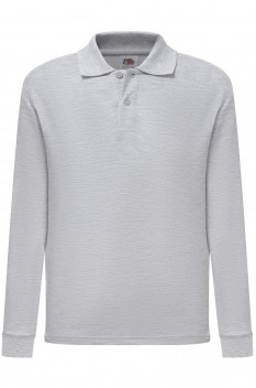 Tricou polo cu maneca lunga copii, Fruit of the Loom, heather grey