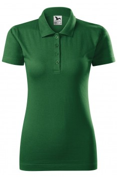 Tricou polo femei, bumbac 100%, Malfini Single Jersey, verde sticla