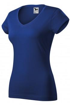 Tricou femei, bumbac 100%, Malfini Fit V-Neck, albastru regal