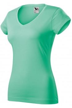 Tricou femei, bumbac 100%, Malfini Fit V-Neck, verde menta