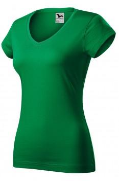Tricou femei, bumbac 100%, Malfini Fit V-Neck, verde mediu