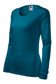 Tricou cu maneca lunga femei, Malfini Slim, albastru petrol