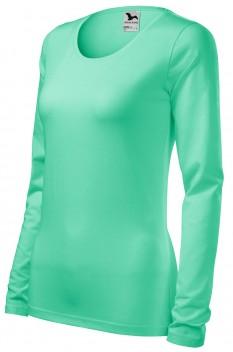 Tricou dama Slim, maneca lunga, verde menta