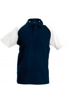 Tricou polo barbati, bumbac 100%, Kariban Baseball KA226, Navy/White