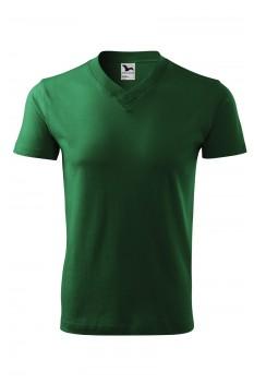 Tricou unisex, bumbac 100%, Malfini V-Neck, verde sticla