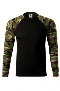 Tricou cu maneca lunga unisex, bumbac 100%, Malfini Camouflage LS, maro